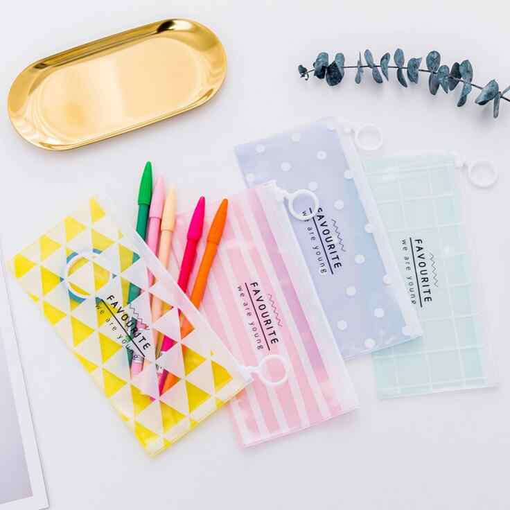 Ellen Brook 1 Piece New Korea School Stationery Lovely Cute Kawaii Creative PVC Envelope To Receive Bag Fresh Translucent Folder
