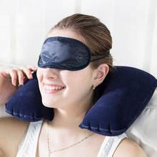 1PC Inflatable U Shaped Travel Pillow Air Cushion Protable Nap Rest Neck Back Flocking Pillow Car Head Neck Rest Plane Office(China)
