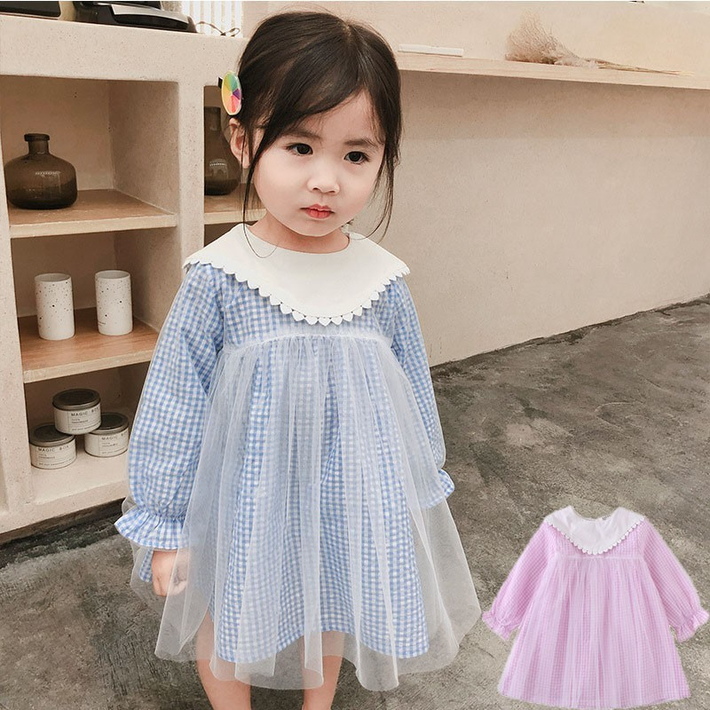 Long Sleeve Princess Dress Kids Baby Clothing Toddler Cotton Dresses For Girls Spring Autumn Pink Blue Patchwork Shirt 20019