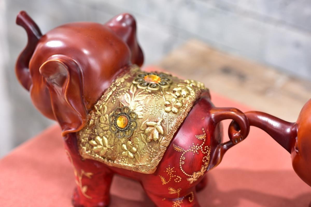 3pcs resin creative cute gift three small elephant office study room decoration a pro auspicious three treasures - 5