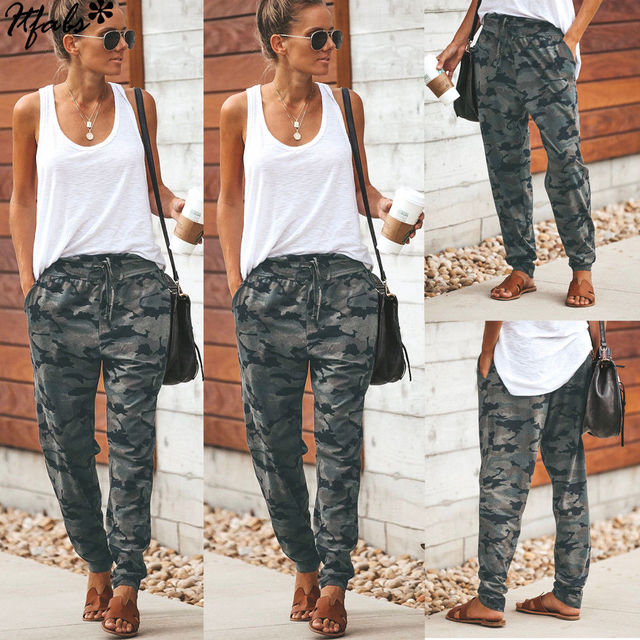 d95b12d44388b Hirigin 2019 Summer New Style Sweatpant Women Camo Cargo Trousers Casual  Pants Military Army Combat Camouflage Loose Trouser