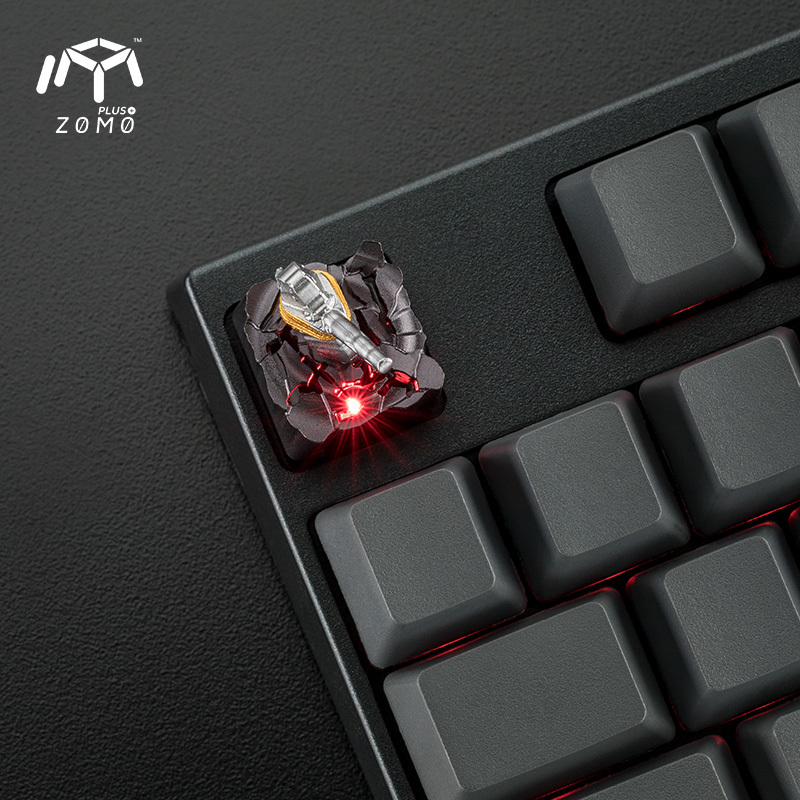 1 pc ZOMO pierre marteau aimant séparation personnalité originale bouchon de clé plein métal translucide mécanique clavier Keycap - 3