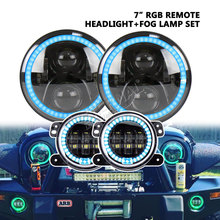 цена на bluetooth remote 60W RGB led headlight + 4inch 30W RGB led fog lamp for 4x4 offroad Wrangler Rubicon CT TJ JK LJ Hummer FJ Miata