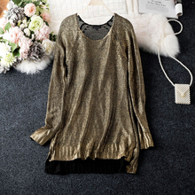 Gilding Stretch Solid Knitted Sweater Women Good Quality O Neck Long Sleeve Asymmetry Knitting Wear Woman Sweaters