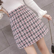 Мода, корейские трапециевидные клетчатые короткие юбки с высокой талией, тонкие мини-юбки, винтажная Милая упаковка, Необычные Юбки