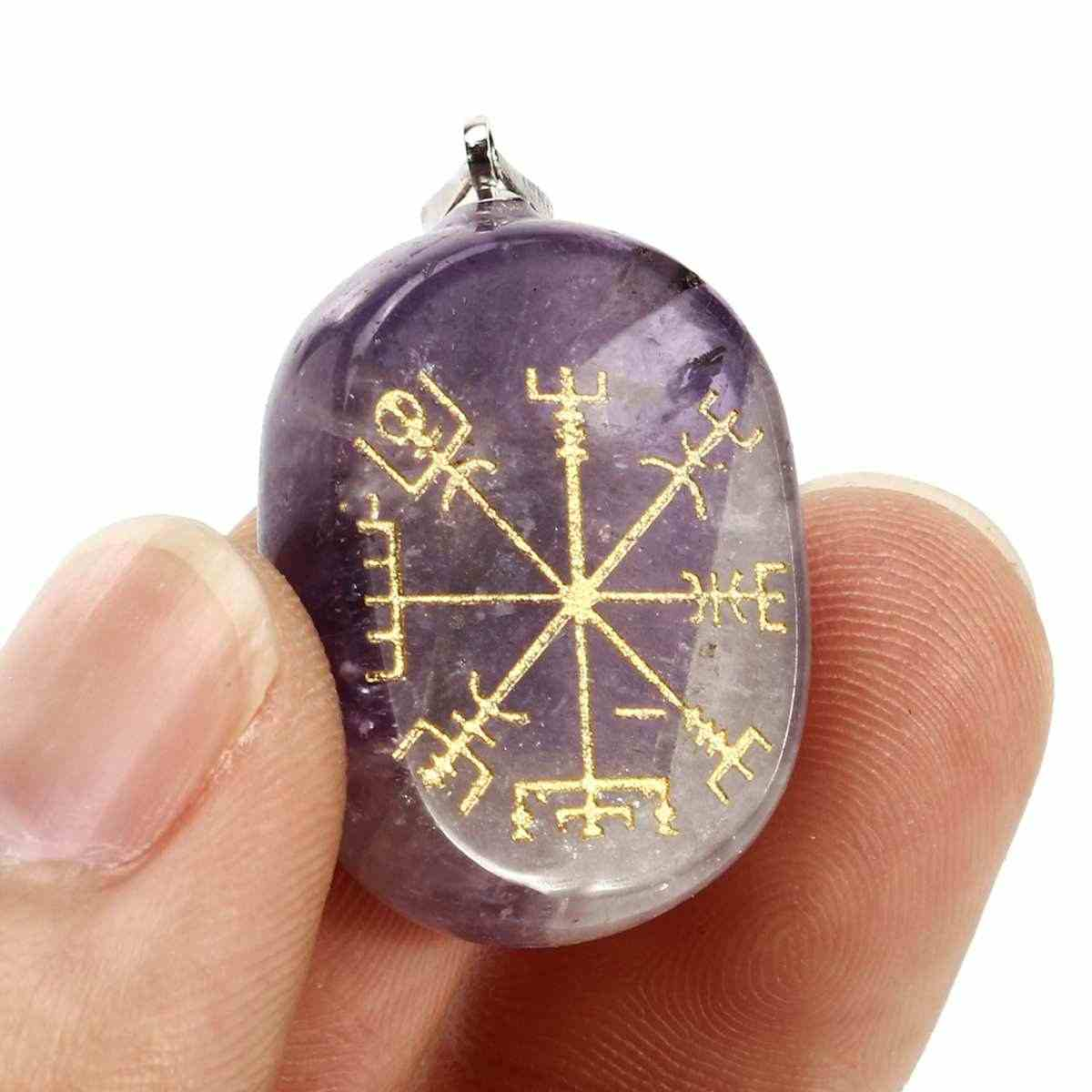 1pcs קריסטל צ 'אקרה אבנים מגולף רייקי ריפוי חקוק s סמל תליון סגלגל עגול תכשיטי קולר בית תפאורה עם חור