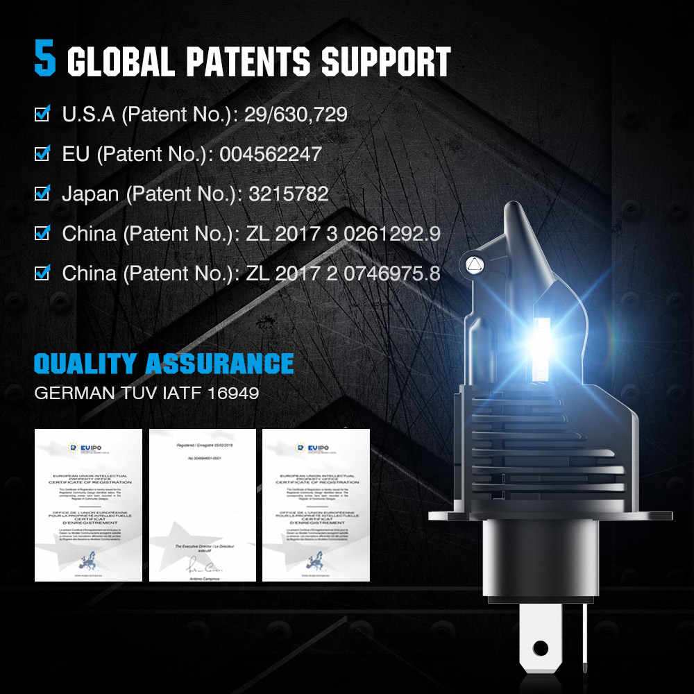 NOVSIGHT Turbo LED H4 Hi/Lo Beam 50W 10000LM 6500K Headlight H7 H11 9005 HB3 9006 HB4 H8 LED Automotive Headlamp for Car Styling