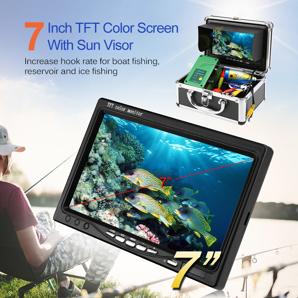 Portable Fish Finder 7'' 1000TVL TFT Monitor Underwater Video Camera Kit LED Night Vision Fishing Finder Ice Lake Boat Reservoir
