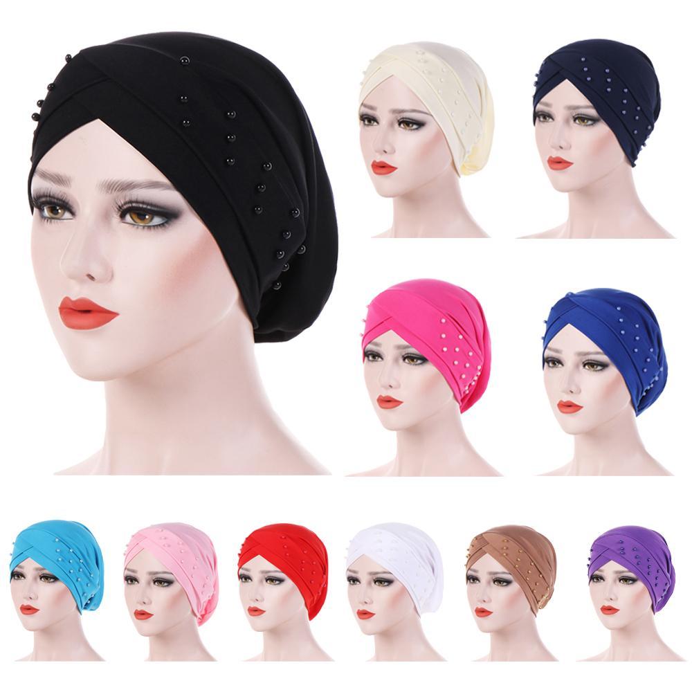 Women Elastic Turban Hat Muslim Hijab Islamic Beads Cancer Chemo Cap Ladies Hijab Stretch Head Wrap Head Scarf Inner Cap Fashion