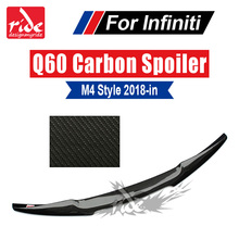 Fit For Infiniti Q60 Q60S M4 Style High-quality Real Carbon Fiber Rear Trunk Splitter Tail Spoiler Wing Lip Car-Styling 2018-in
