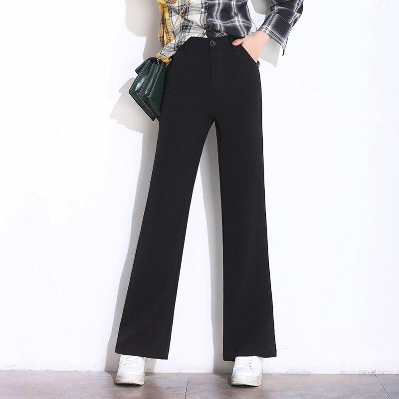 Black Solid   Wide     Leg     Pants   & Capris Female High Waist Trousers Office Ladies Workwear 2019 Spring Autumn Long Women   Pants