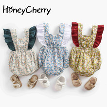 Baby rompers New Summer Climbing Dress Flower Strap Girl Pants Baby Girl Clothes Funny Baby Rompers Jumpsuit cheap HoneyCherry COTTON Fashion Print O-Neck Bodysuits Baby Girls Sleeveless Fits true to size take your normal size