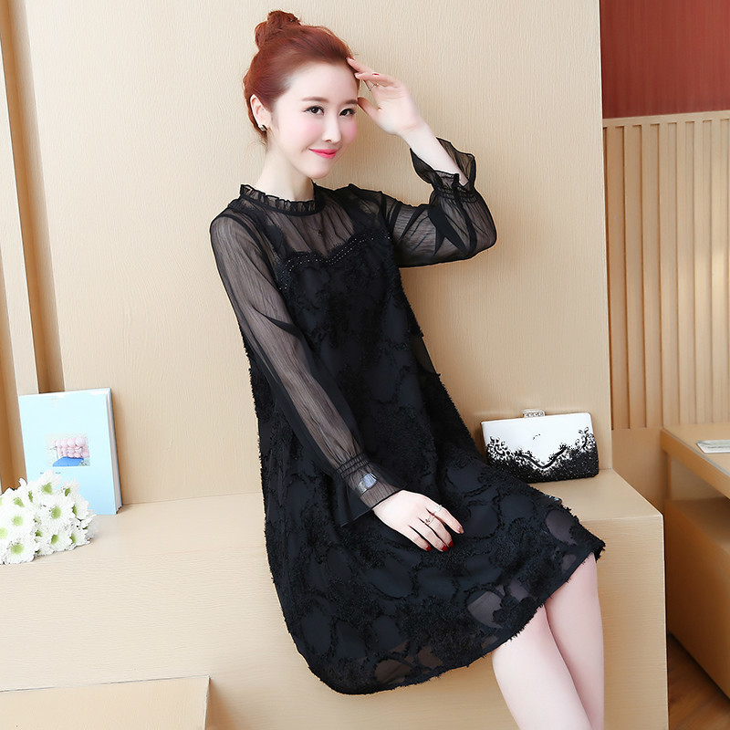 Women Chiffon Dress Long Sleeve O neck Summer Party Dresses Elegant Casual Hollow Out A Line Mini Dress Vestidos Plus Size in Dresses from Women 39 s Clothing