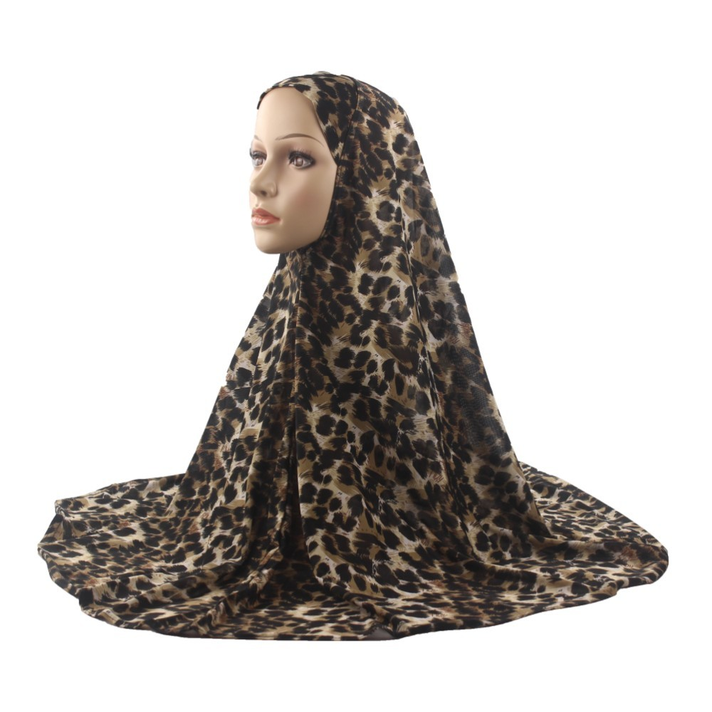 Muslim Women Hijab Islamic Scarf Woman Amira Cap Full Cover Headwear Soft Stretch Leopard Pattern