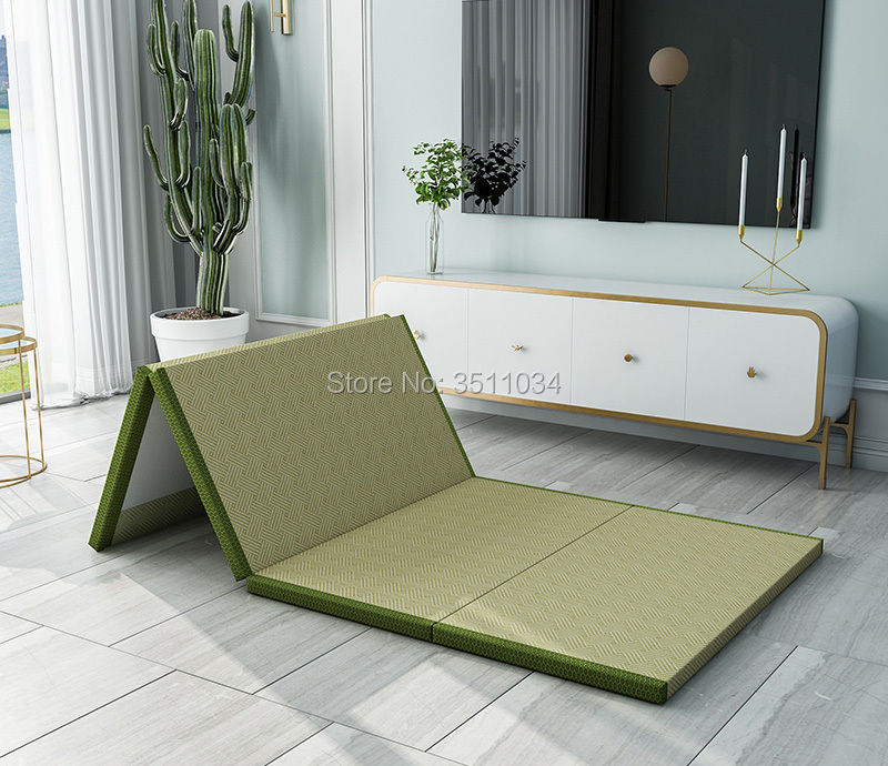 Japanese Traditional Folding Natural Connut Palm Tatami Mattress Mat Foldable Floor Straw Mat For Yoga Sleeping Mat Flooring