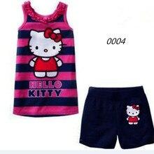c8a2cd3c9 Niños conjuntos de pijamas de los niños de verano de algodón de manga corta  Hello Kitty ropa de dormir niños pijamas niñas inici.