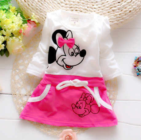 Children's Clothing Girl Dresses New Fashion Cute Cartoon Summer Minnie Baby Girl Clothes Is Suitable For Baby's Round Collar