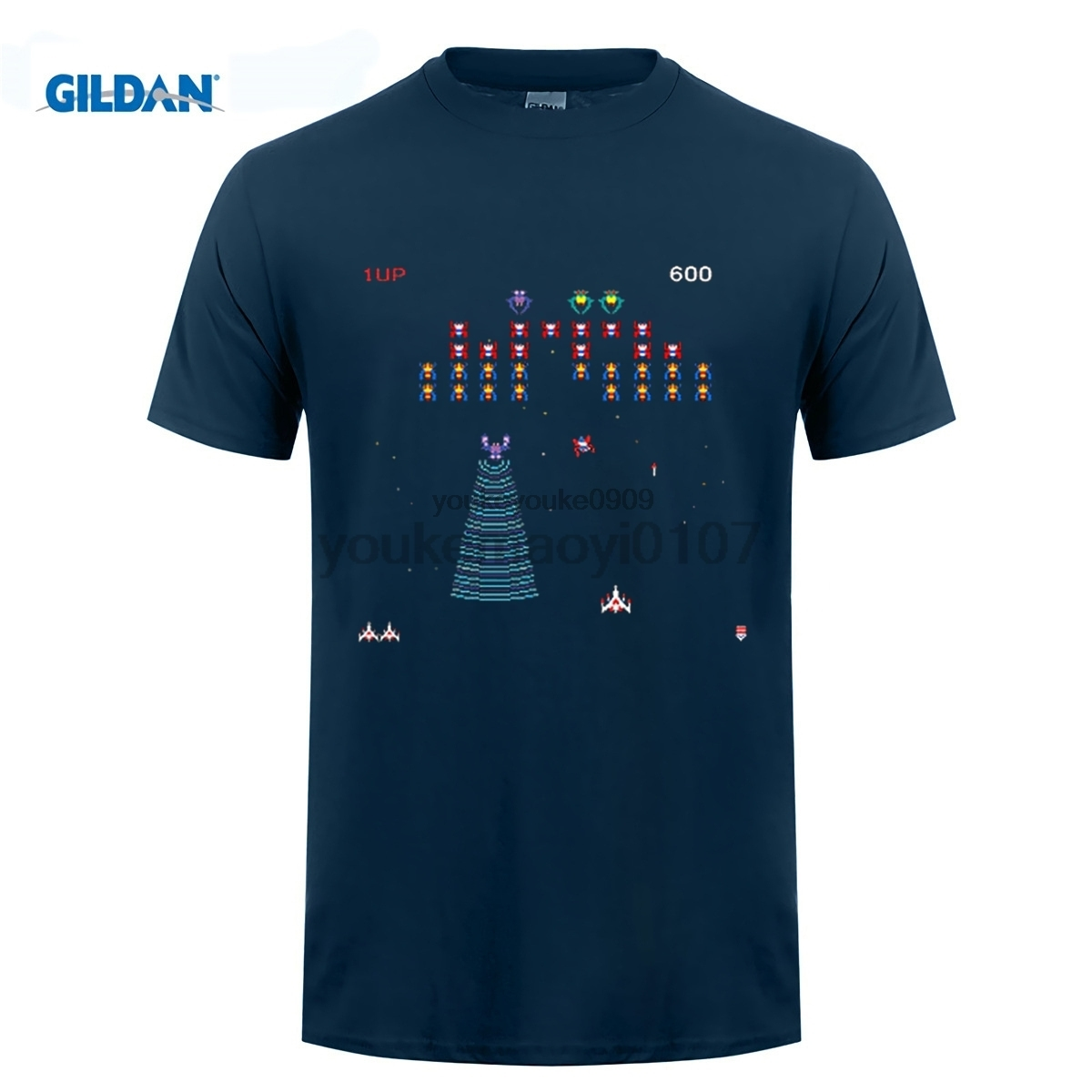 GILDAN GALAGA Arcade Game Retro Gamer Classic Mens Black T-Shirt Size S-2XL 100% Cotton Youth Round Collar T