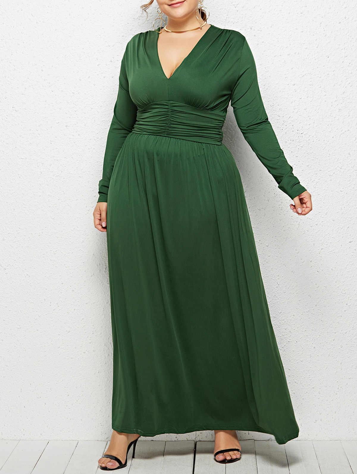 Wisalo Женское Платье макси с глубоким вырезом и завышенной талией, большие размеры, облегающее и расклешенное однотонное вечернее платье, повседневное Vestidos 3XL