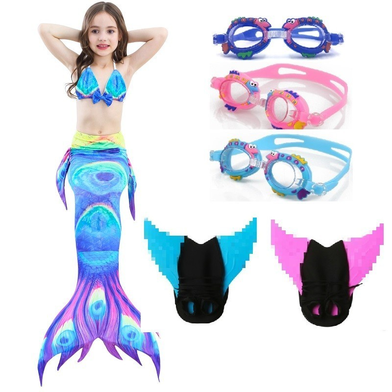 Little Mermaid Tails with Monofin Costume Cosplay Kids Girls Children Swimwear Swimming Swimsuit swimmable Bathing Suit Flipper