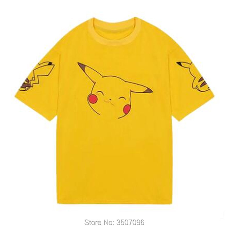 Harajuku Kawaii Anime Pikachu Short Sleeve Loose T Shirt Tops Women Summer Student oversized Korean Fashion Yellow Cute Shirts