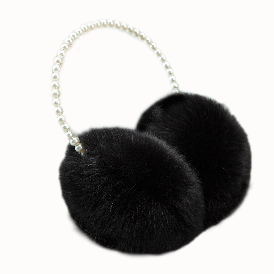 2018 Pearl Winter Earmuff  Rabbit Fur Women Earmuffs Winter Ear Warmers Ear Cover Women Big Plush Warm Earmuffs