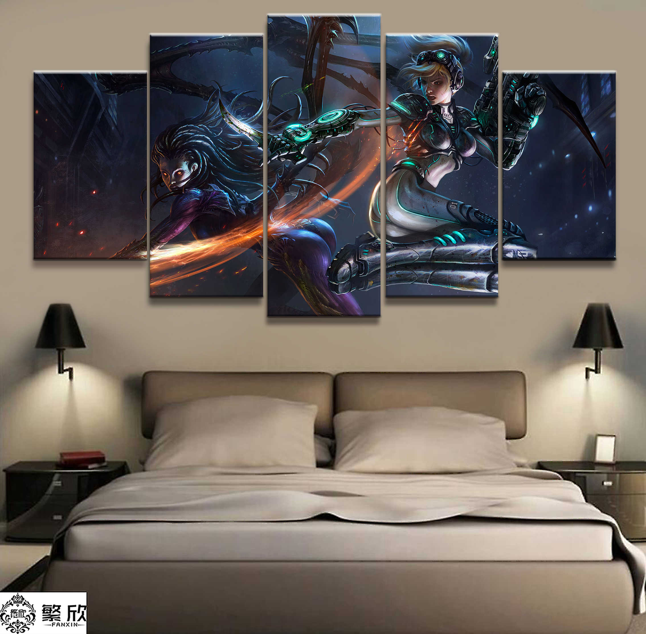 Home Decor Modular Canvas Picture 5 Piece Kerrigan StarCraft Game Painting Poster Wall For Home Art Canvas Painting Wholesale