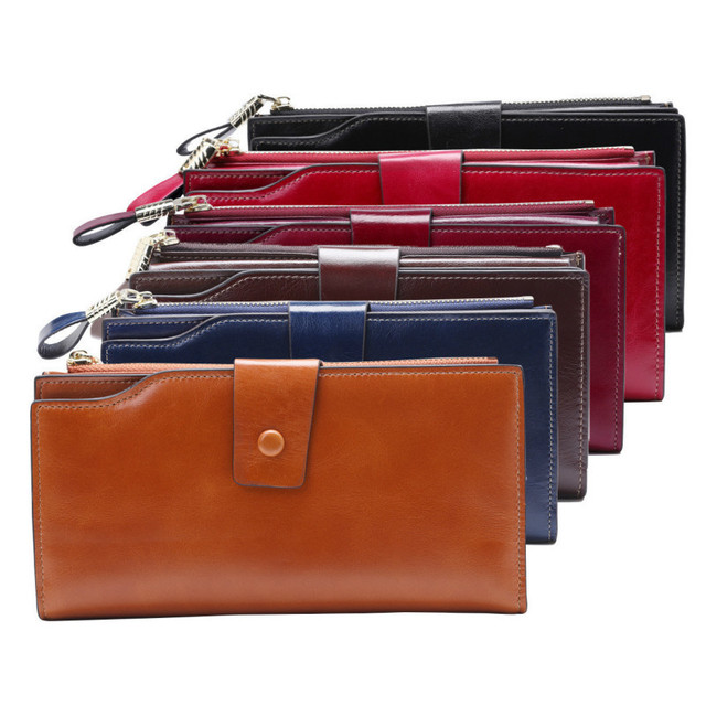 Fashion Genuine Leather Women Wallet Female Cell Phone Pocket Long Women Purses Hasp Oil Wax Leather Lady Coin Purse Card Holder 6
