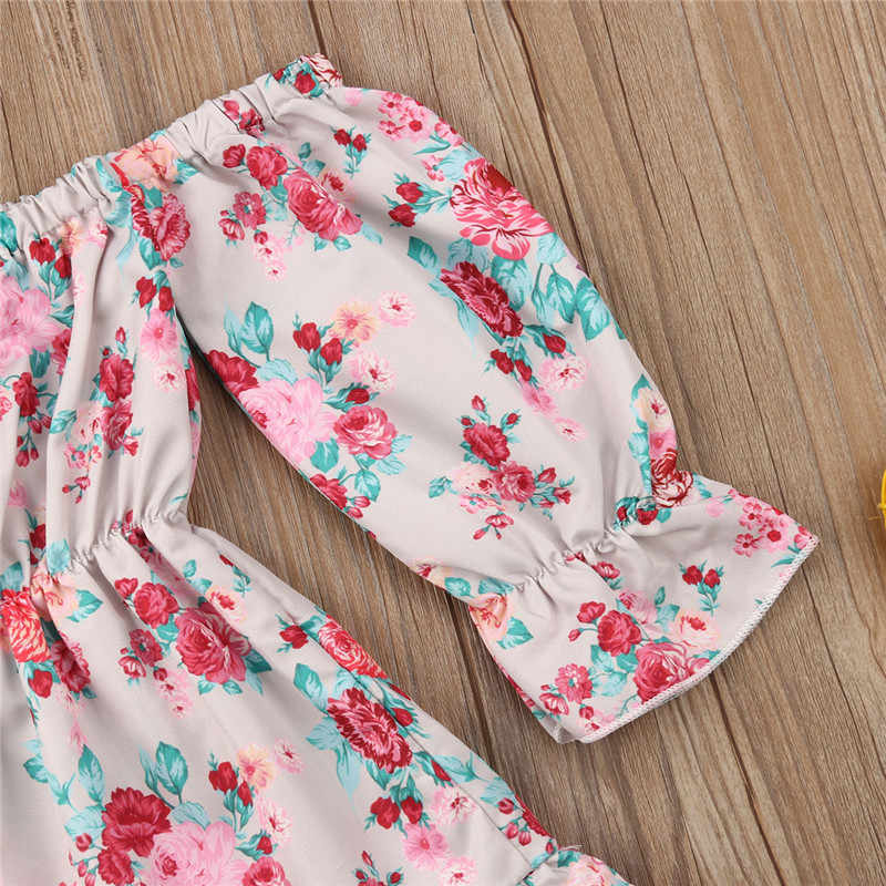 Newborn Baby Clothes Comfortable 2019 Fashion Toddler Kids Baby Girls Flowers Princess Party Off Shoulder Dress Clothes Floral
