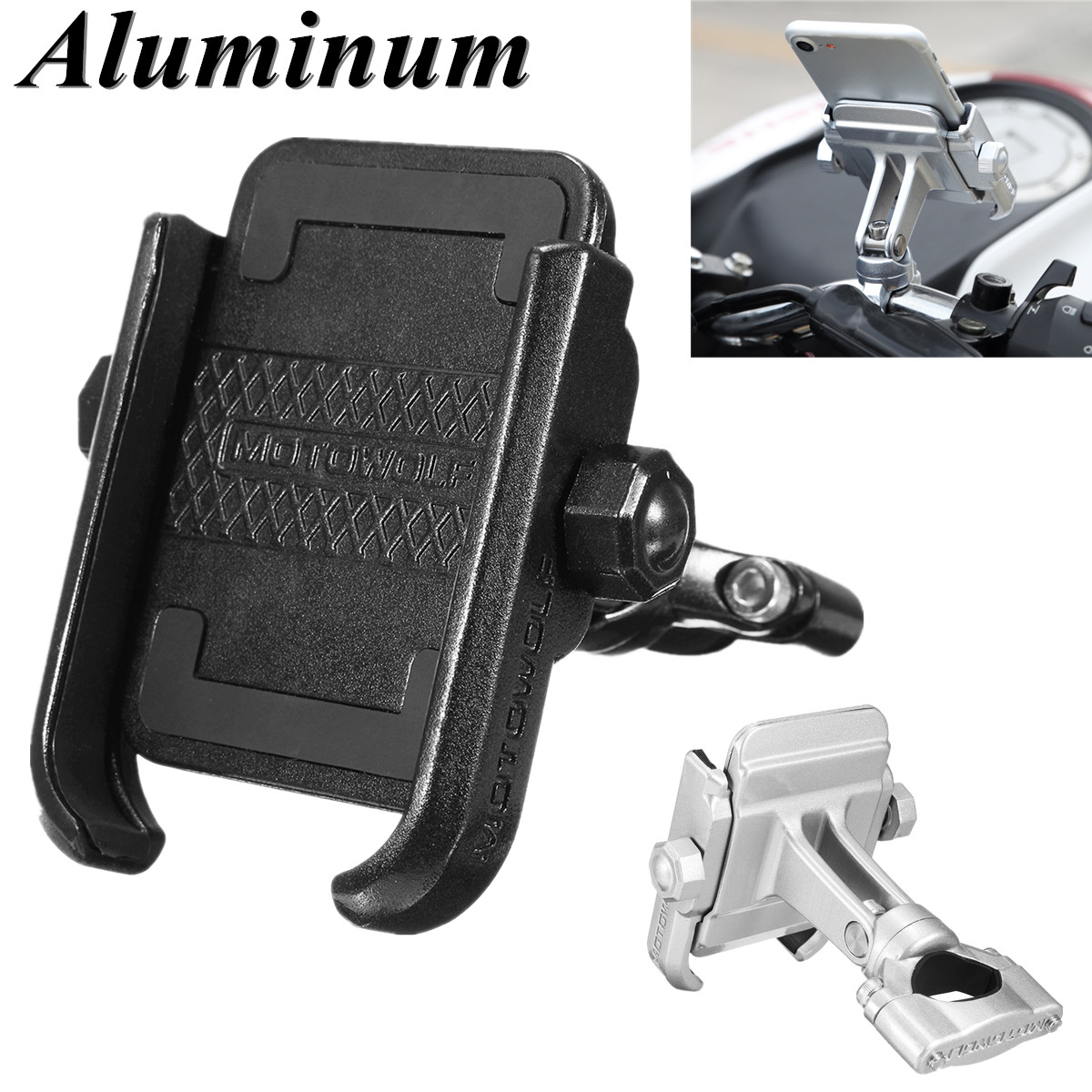 Aluminum Bike Motorcycle Phone Handlebar Mount Holder 360 Degree Rotating Universal Bicycle Phone Holder Clip for Cell PhoneAluminum Bike Motorcycle Phone Handlebar Mount Holder 360 Degree Rotating Universal Bicycle Phone Holder Clip for Cell Phone
