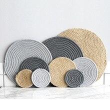 Place mat Pad Coasters Kitchen Table Mats Cotton Linen Knitting Bowl Mats Padding Mat Insulation Pad Round Place mats Hand-made