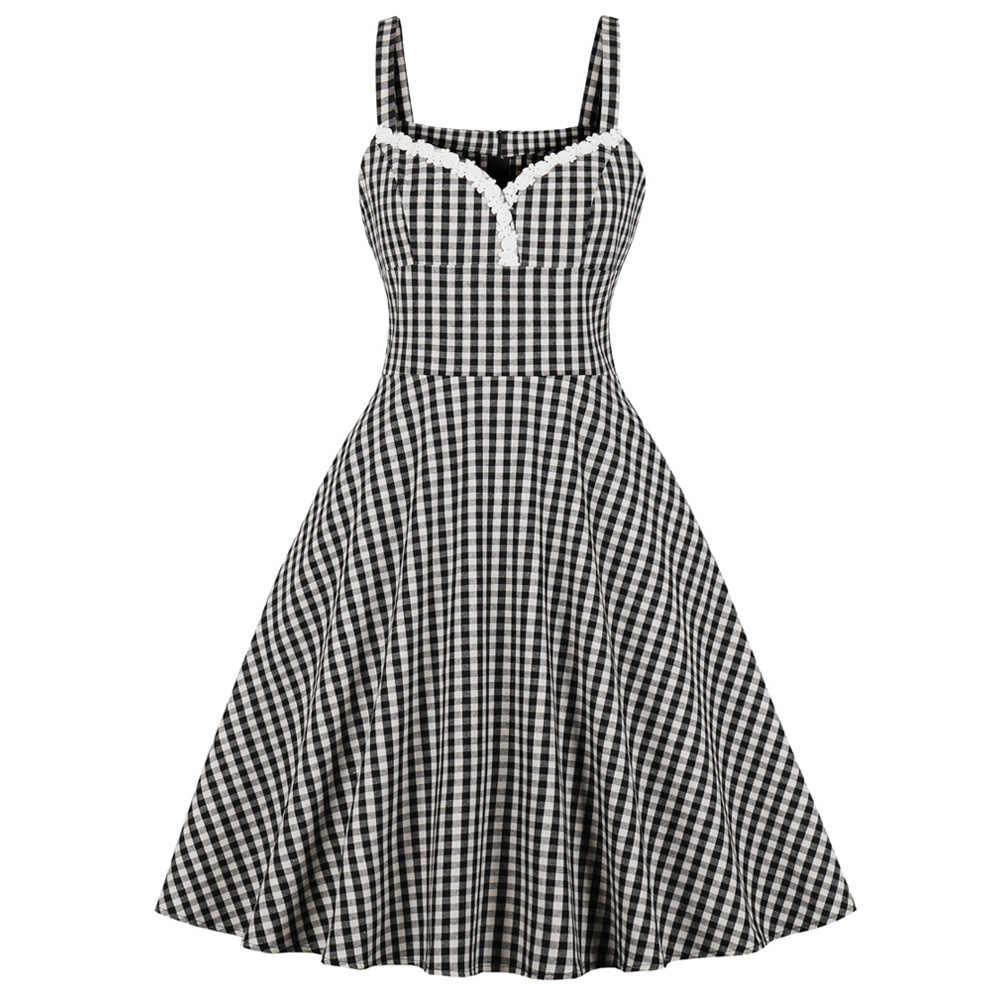 Joineles Elegant Style Check Plaid Print 60s Women Retro Dress 50s Audrey Hepburn Crochet Party Vestidos Pin Up Vintage Dress