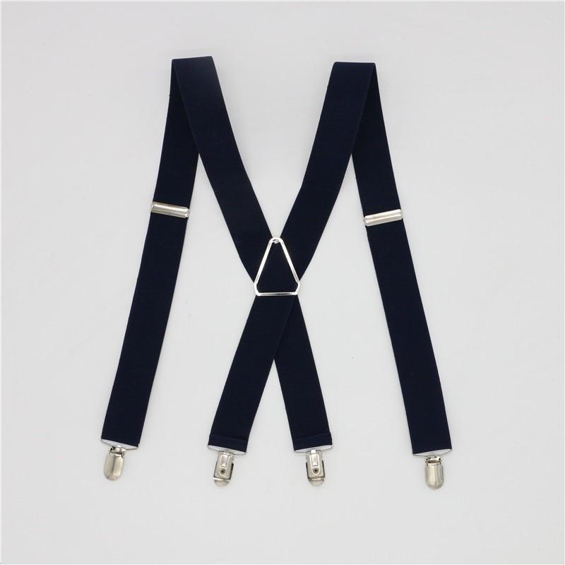 Solid Color Unisex Adult Suspenders Men 3.5 Width 4 Clips Suspender Adjustable Elastic X Back Women Braces