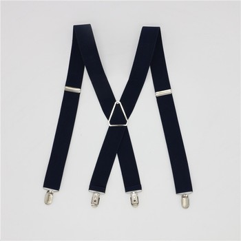 Solid Color Unisex Adult Suspenders Men 3.5 Width 4 Clips Suspender Adjustable Elastic X Back Women Braces