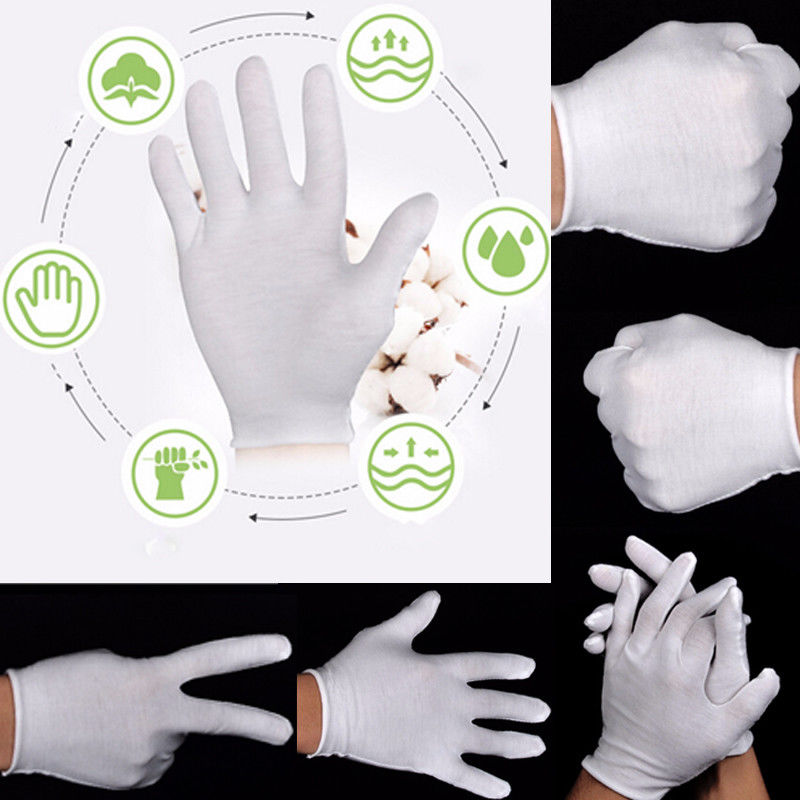 New Arrivals 6 PCs White Inspection 100% Cotton Work Gloves Ceremonial Gloves Male Female Serving Waiters Drivers Jewelry Gloves