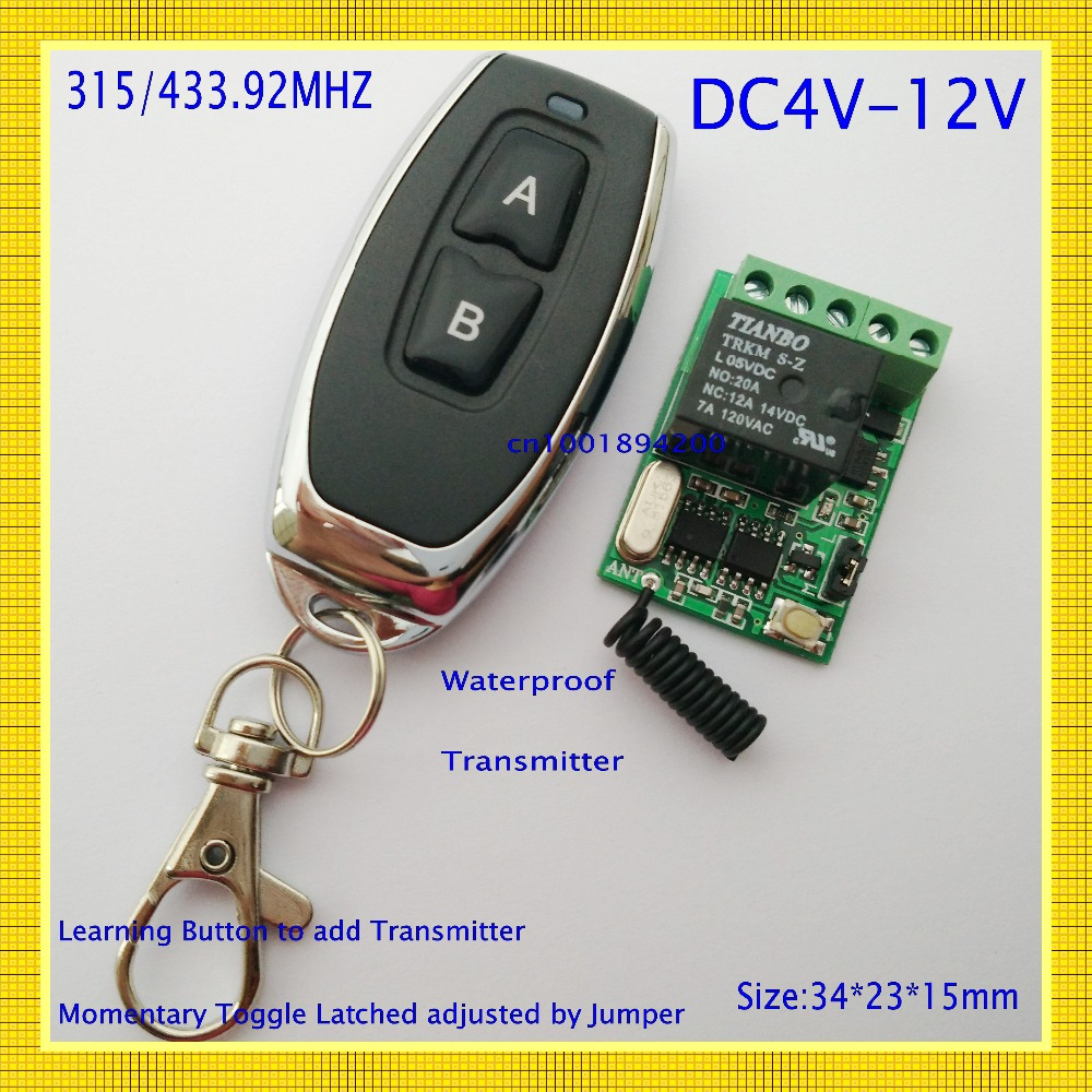 US $8 4 30% OFF|relay remote controller DC4V 4 5V 5V 6V 7 4V 9V 12V  wireless relay switch 10A Normally Open close power remote on off RF rx  tx-in