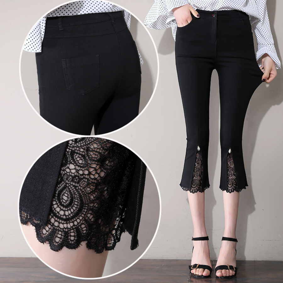 New 2019 Fashion Women's High Waist Flare Pants Capris Women Casual Lace Patchwork Stretch Skinny Summer Pants Plus Size