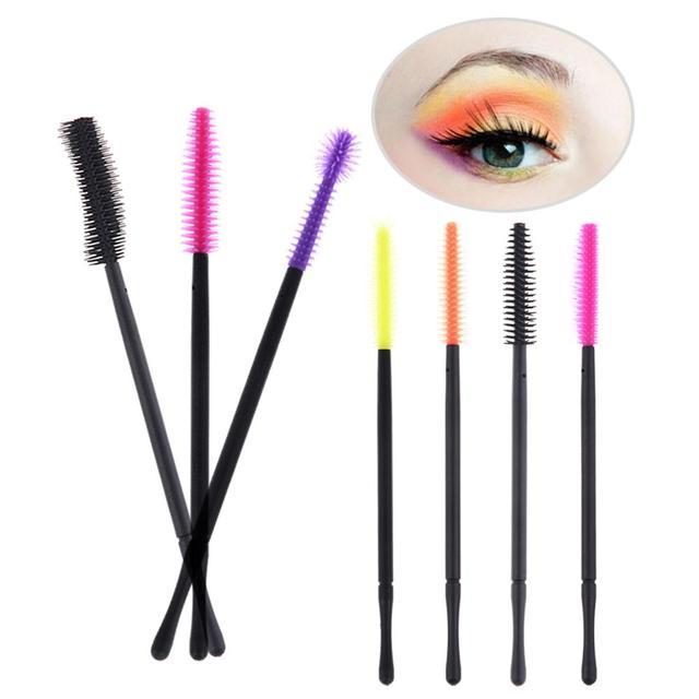 50 piezas de cepillo de pestañas de silicona desechable peine de máscara de pestañas de extensión Individual aplicador de maquillaje de belleza de ojos