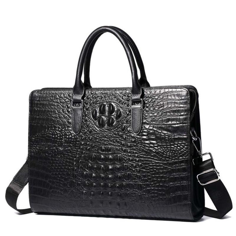 Crocodile de luxe motif hommes sacs à main en cuir véritable hommes mallette d'affaires en peau de vache 14