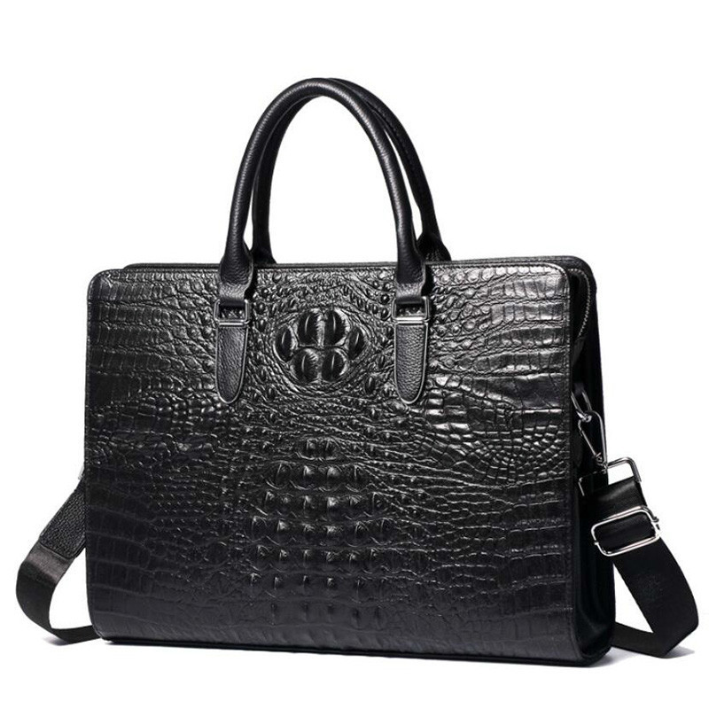 Luxury Crocodile Pattern Mens Handbags Genuine Leather Men Business Briefcase Cowhide 14
