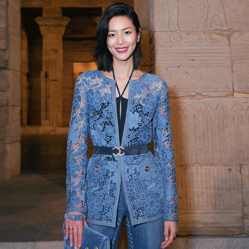 Runway Tops 2019 Frühling Elegante Blaue Blumen Aushöhlen Spitze Blusen Damen Mit V ausschnitt Langarm Medium Lange Dünne Strickjacke