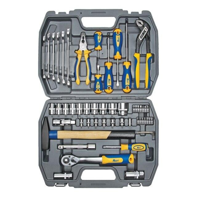 Набор ручного инструмента KRAFT КТ 700303 (56 предметов) (56 предметов, диапазон размеров 8-27 мм, кейс в комплекте)