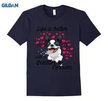 GILDAN Lifes better with a Boston terrier Funny Dog Lovers T-Shirt