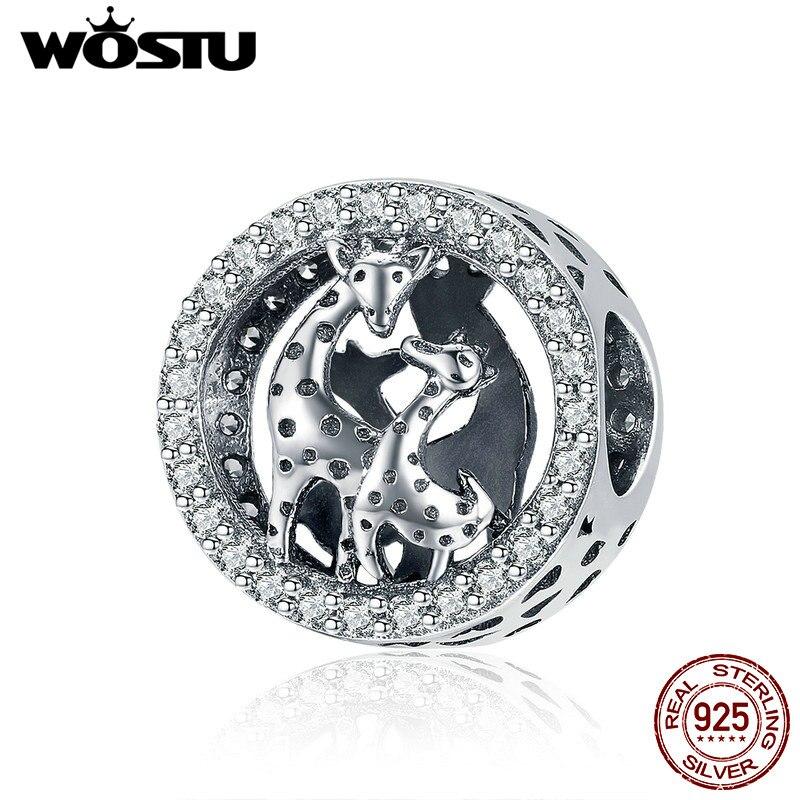 WOSTU Genuine 925 Sterling Silver Lovely Giraffe Charm Beads Fit Bracelets Pendant Classic Elegant Jewelry Accessories CQC997
