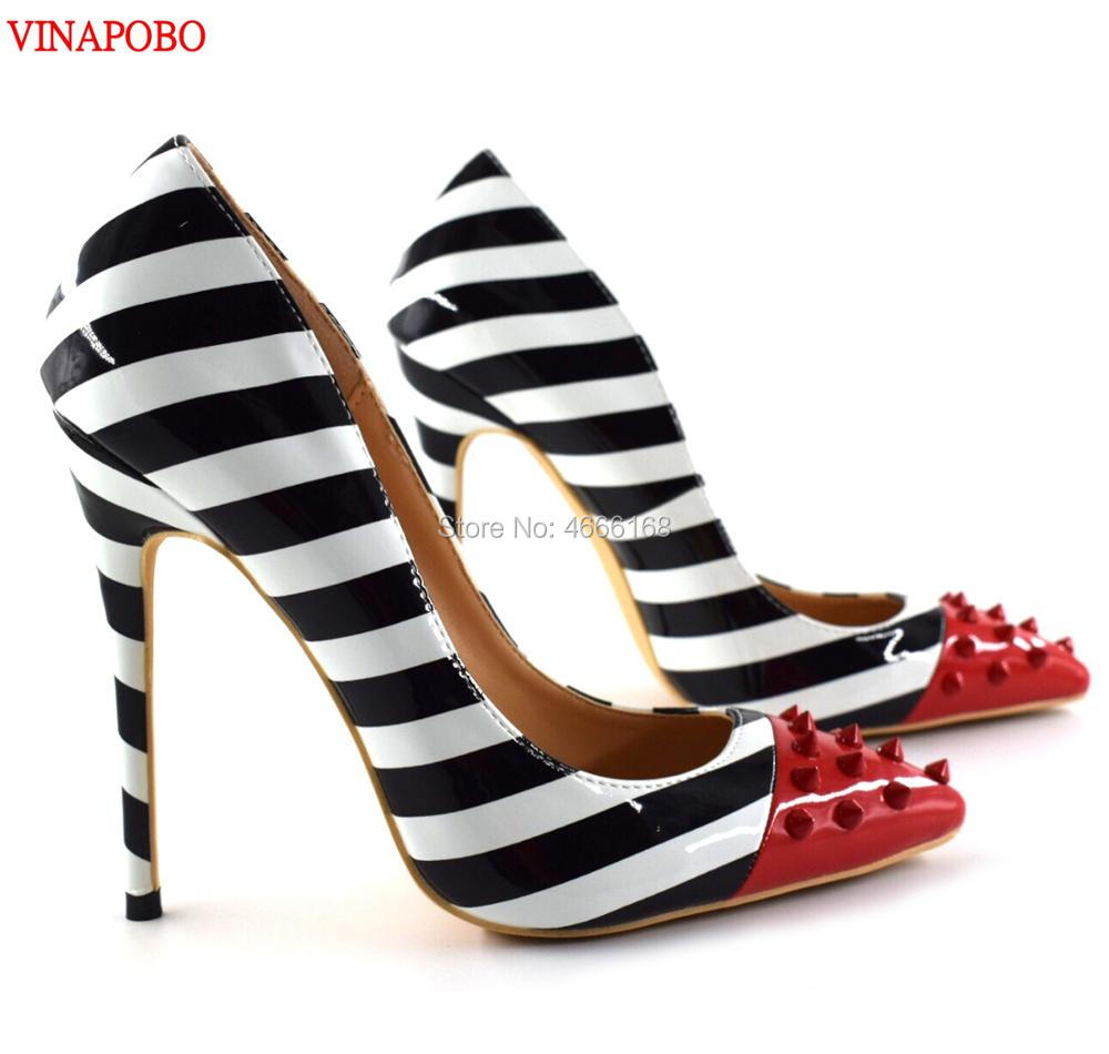 Sexy Women High Heels Shoes Pointed Toe Red Rivets Black White Zebra Stripes Wedding Shoes Pumps