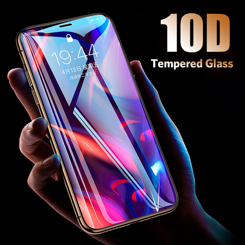 10D מגן זכוכית על עבור iPhone 7 6 XS Max XR מסך מגן מלא כיסוי מזג זכוכית סרט עבור iPhone X 7 8 6 6 s בתוספת