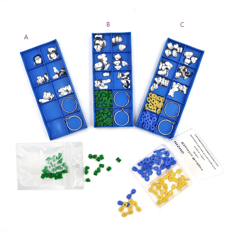 1 Set Dental Sectional Contoured Matrices Oral Teeth Matrices Dental Matrix With Ring Rubber Elastic Wedges  Dentist Tools