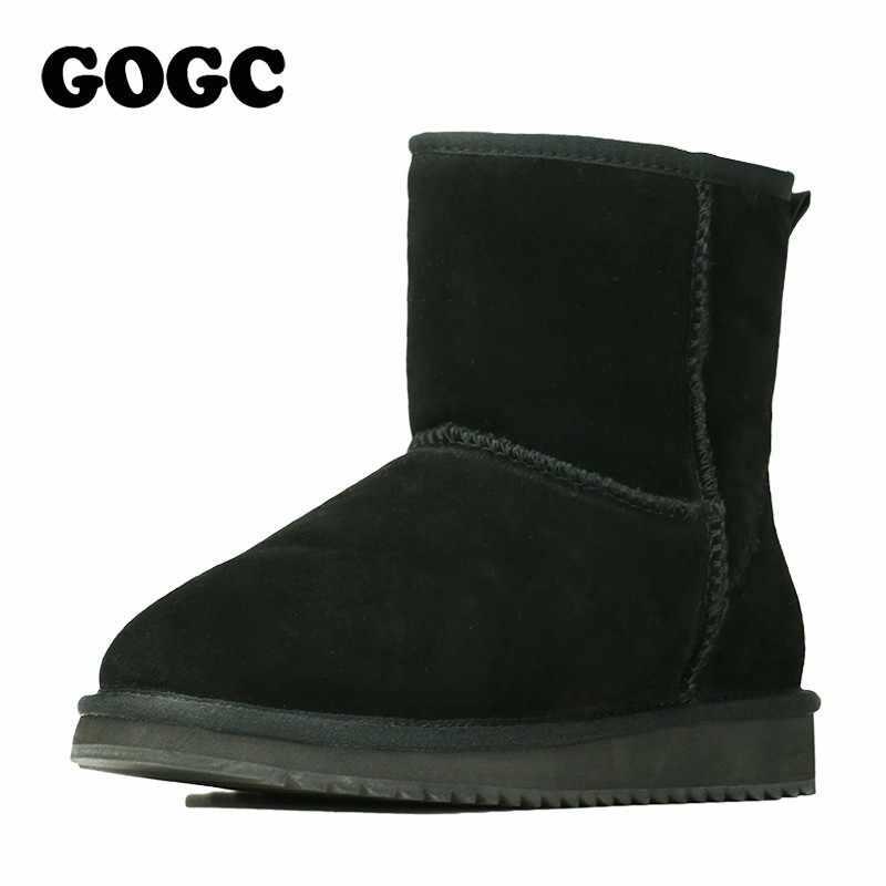 GOGC 2018 Hakiki Deri yarım çizmeler kadın Kışlık Botlar kadın Kış Ayakkabı Düz Platformu Kadın Ayakkabı Kadın Ayakkabı 9718