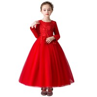 Elegant Princess Lace Dress Kids Flower Embroidery Dresses For Girls Vintage Children Clothes For Christmas Party Red Ball Gown