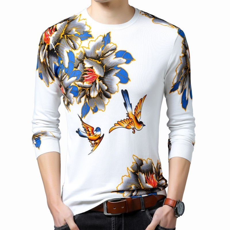 2019 Spring New Fashion Pullover Erkek Kazak Flowers Bird Printed Sweater Mens Slim Fit Pull Homme Sweater Mens  Chompas Hombre